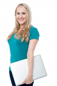 blonde woman laptop