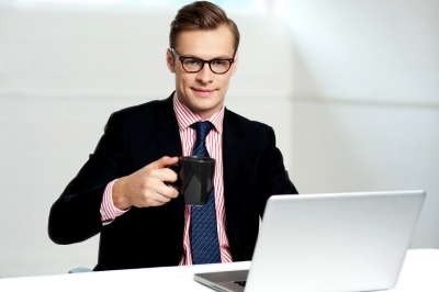 cute guy on laptop